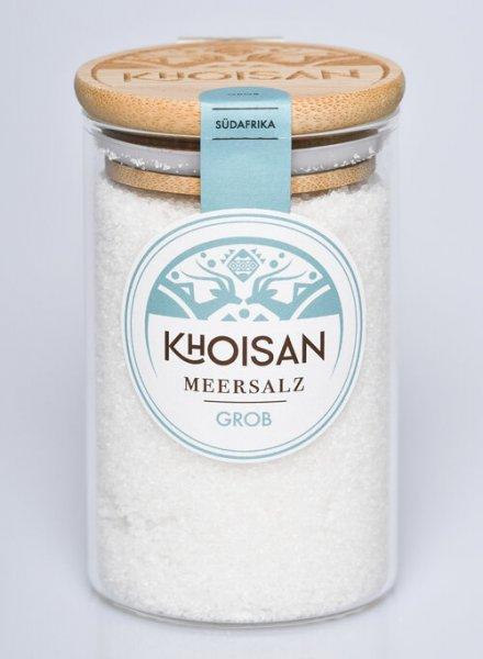 Naturreines Meersalz, grob-naturbelassenen Meersalz grobkoernig aus Fairem Handel von Khoisan-Fairer Handel mit Salz aus Suedafrika-mikroplastikfreies Fairtrade Meersalz von Khoisan aus Suedafrika