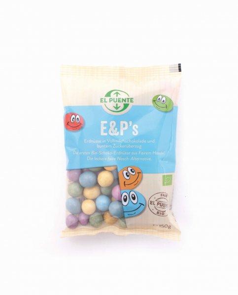 E & P 's - bunte Bio-Schoko-Erdnüsse-Bio-Schoko Erdnüsse M&M Alternative Fair Trade-Fairer Handel mit Schokolade und Nuessen-Fairtrade Bio-Schoko Erdnüsse bunt aus Indonesien