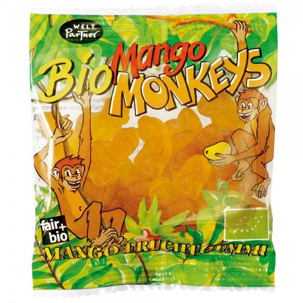 Bio-Fruchtgummis 'Mango Monkeys', klein-Bio Fruchtgummis Mango aus Fairem Handel Weltpartner-Fairer Handel mit Suessigkeiten und Mangos fuer Kinderrechte-Fair Trade Bio-Fruchtgummis PREDA Philippinen