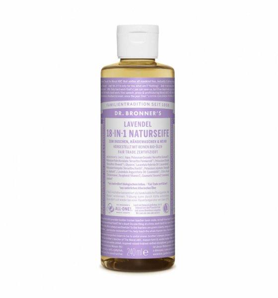 18-in-1 Naturseife Lavendel, 240 ml-milde Bio-Naturseife Lavendel aus Fairem Handel-Fairer Handel mit vegane Naturkosmetik-Fair Trade Naturkosmetik vegan und bio