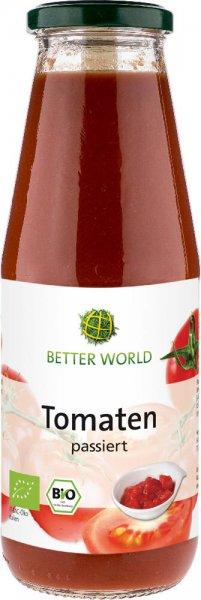 passierte Bio-Tomaten 'Passata di pomodoro'-Bio-Passata di Pomodor passierte Bio-Tomaten aus Fairem Handel-Fairer und Sozial gerechter Handel mit Gemuese in Europa-Fairtrade Bio-Passata passierte Tomaten von Better World