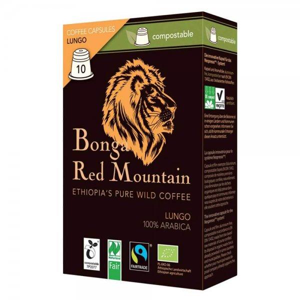 Bio-Lungo Kapseln 'Bonga Red Mountain', kompostierbar-Bio-Kaffee Lungo kompostierbare Kapseln Nespresso Fair Trade-Fairer Handel mit Kaffee in kompostierbaren Kapseln-Faitrade Bio-Lungo Kaffee Kapseln Original Food kompostierbar