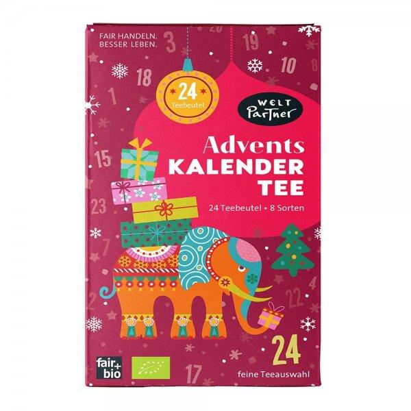 Bio-Adventskalendertee (8 Sorten Teebeutel à 3 Stück)-Adventskalender Bio-Tee Adventskalendertee aus Fairem Handel von Weltpartner-Fairer Handel mit Tee, Kraeutern und Weihnachten-Fairtrade Bio-Tee im Adventskalender fuer Weihnachten Geschenke