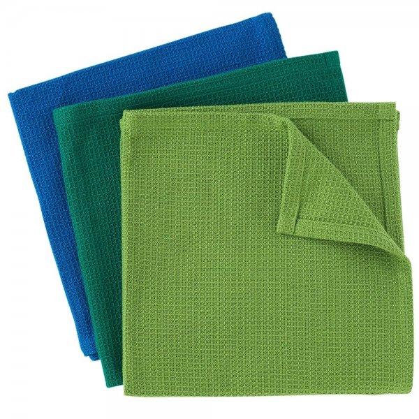 Spültücher, aus 100% Bio-Baumwolle - 3er Set-Bio-Baumwolle Spueltuch gruen-blau Fairtrade von Weltpartner-Plastikfrei nachhaltig leben Ressourcen schonen-Fairer Handel Bio-Baumwolle Spueltuch aus Indien
