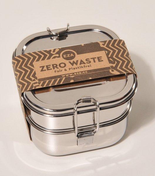 Brotdose / Lunchbox Mandala aus Edelstahl - 2 Etagen, quadratisch-nachhaltige Brotdose Lunchbox 2 Etagen aus Fairem Handel von EZA-Fairer Handel mit nachhaltigen Produkten Zubehoer fuer Kueche Essen-Fairtrade Edelstahl Brotdose Lunchbox aus Indien