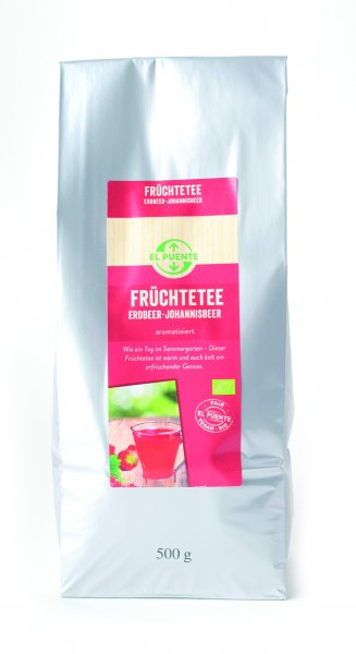 Bio-Früchtetee Erdbeer-Johannisbeer, Grosspackung-Bio-Fruechtetee aus Fairem Handel von El Puente-Fairer Handel mit Fruechtetee in Grosspackungen-Fairtrade Bio-Fruechtetee aus Burkina Faso Kosovo