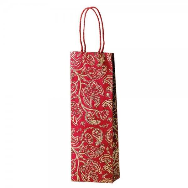 Geschenk-Tasche für Flasche, 'goldenes Muster' - rot
