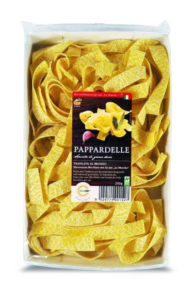 Bio-Pappardelle-Bio-Pappardelle Eier-Bandnudeln aus Fairem Handel von Terra Bio-Fairer Handel mit Nudeln und Getreide aus Europa-Fairtrade Bio-Nudeln Papperdelle aus Italien