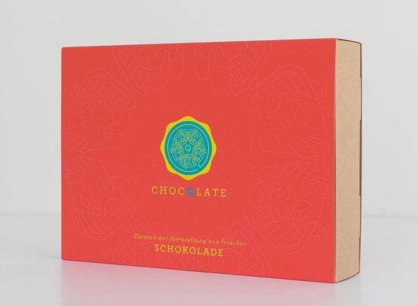 Bio-Schokolade Set zum Selbermachen - rot-Bio-Schokoladen selbermachen Set Zutaten aus Fairem Handel-Fairer Handel mit Kakao und Schokolade-Fair Trade Geschenk Bio-Schokoladenset zum Selbermachen