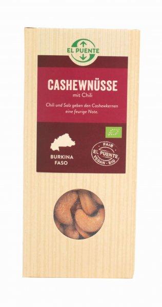 Bio-Cashewnüsse geröstet & mit Chili verfeinert-Bio-Cashewnuesse Chili aus Fairem Handel El Puente-Fairer Handel mit Nuessen und Knabbereien-Fairtrade Bio-Cashewnuesse aus Burkina Faso
