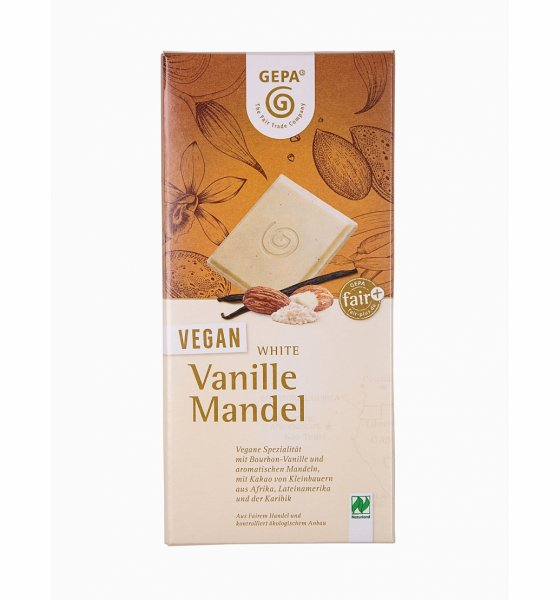 Weisse Bio-Schokolade Vanille-Mandel-Weisse Bio-Schokolade vegan aus Fairem Handel-Fairer Handel mit Kakao und Schokolade-Fairtrade Bio-Schokolade weiss aus Sao Tome und Principe