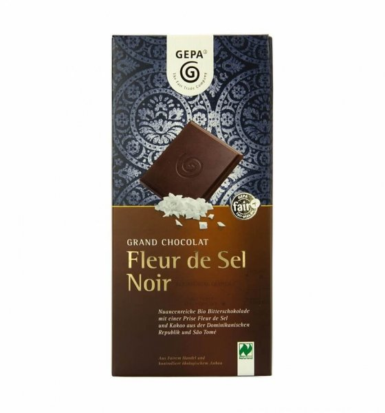 Bio-Schokolade Fleur de Sel Noir-Bio-Schokolade Noir Fleur de Sel aus Fairem Handel-Fairer Handel mit Kakao und Schokolade-Fairtrade Bio-Schokolade aus der Dominikanischen Republik und Sao Tome
