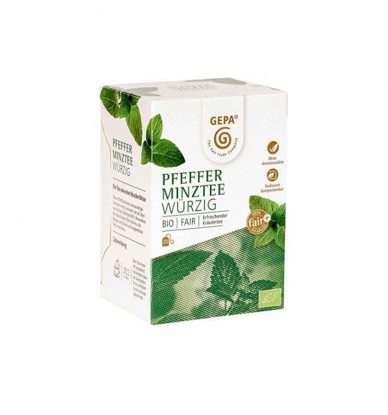 Bio-Pfefferminztee-Bio-Pfefferminztee Teebeutel aus Fairem Handel von GEPA-Fairer Handel mit Kraeutern und Pfefferminze-Fairtrade Bio-Pfefferminztee von SEKEM Aegypten