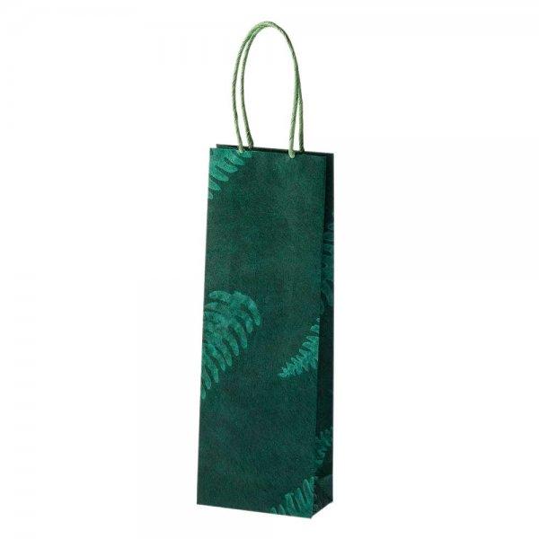 Geschenk-Tasche für Flasche, 'Wilder Farn' - grün-Geschenk-Tasche Wein-Flasche gruen aus Fairem Handel-Fairer Handel mit Papier und Geschenken-Fairtrade recycling Papier-Tasche aus Nepal