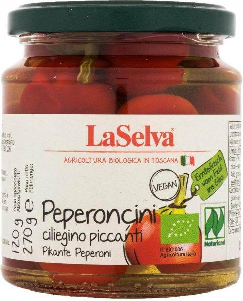 pikante Bio-Peperoni, rot-Bio-Peperoni pikant aus Fairem Handel von LaSelva-Fairer Handel mit Peperoni und Feinkost aus Italien-Fairtrade Bio-Peperoni peperonici piccánti Toskana