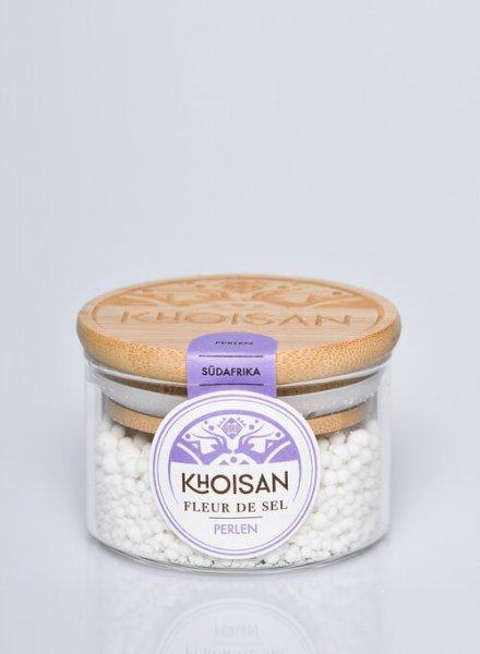 Naturreine Fleur de Sel, Perlen-naturreine Fleur de Salz Meersalz aus Fairem Handel von Khoisan-Fairer Handel mit Salz aus Suedafrika-mikroplastikfreies Fairtrade Meersalz von Khoisan aus Suedafrika