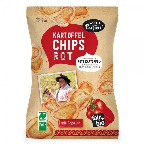rote Kartoffelchips, mit Paprika