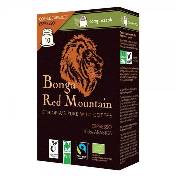 Bio-Espresso Kapseln 'Bonga Red Mountain', kompostierbar-Bio-Espresso kompostierbare Kaffee Kapseln Nespresso Fair Trade-Fairer Handel mit Kaffee in kompostierbaren Kapseln-Faitrade Bio-Espresso Kaffee Kapseln Original Food kompostierbar