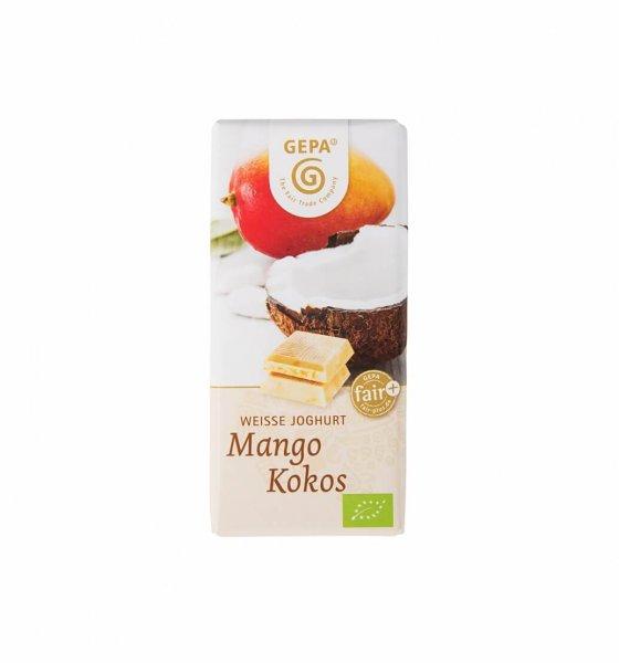 Weisse Bio-Schokolade Mango-Kokos-Weisse Bio-Schokolade aus Fairem Handel-Fairer Handel mit Schokolade, Kakao und Zucker-Fairtrade Bio-Schokolade aus Peru und Paraguay
