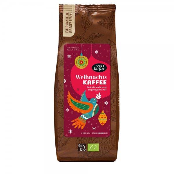 Bio-Kaffee Weihnachtsedition, gemahlen-Bio-Kaffee Filterkaffee gemahlen aus Fairem Handel-Fairer Handel mit Kaffee und Roestkaffee zu Weihnachten-Fairtrade Bio-Roestkaffee gemahlen aus Nicaragua