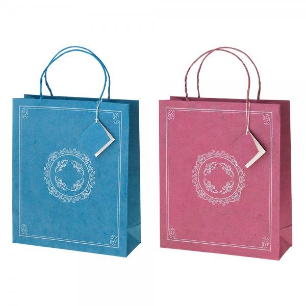 Geschenktasche groß, mit silberfarbenem Druck, handgeschöpftes Recyclingpapier-Geschenktasche aus Recyclingpapier Weltpartner-Fairer Handel mit Papier und Geschenken-Fairtrade handgeschoepftes Recycling-Papier aus Nepal