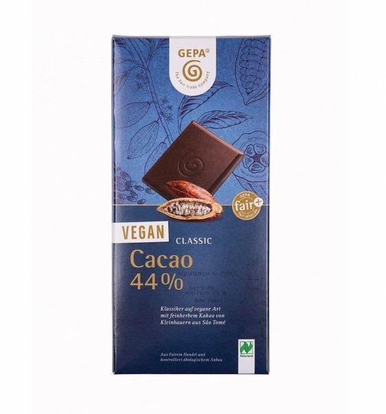 Bio-Schokolade Vegan Classic, 44%-vegane Bio-Schokolade 44% Kakao aus Fairem Handel-Fairer Handel mit Kakao und Schokolade-Fairtrade Bio-Schokolade vegan von GEPA Sao Tome