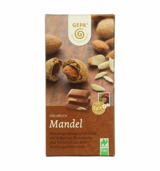 Bio-Vollmilchschokolade Mandel-Bio-Vollmilch-Schokolade aus Fairem Handel-Fairer Handel mit Kakao und Schokolade-Fairtrade Bio-Vollmilch-Schokolade aus São Tomé, Bolivien und Paraguay