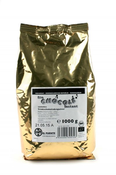 Bio-Trinkschokolade Chocolé, Grosspackung-Bio-Trinkschokolade Kakao aus Fairem Handel von El Puente-Fairer Handel mit Kakao und Zucker-Fairtrade Bio-Trinkschokolade aus Paraguay Madagaskar
