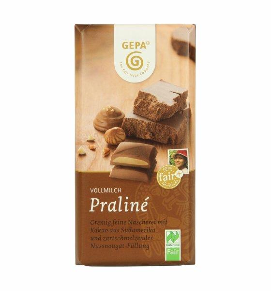 Bio-Vollmilchschokolade Praliné-Bio-Schokolade Nougat aus Fairem Handel-Fairer Handel mit Schokolade Kakao-Fairtrade Bio-Schokolade aus Bolivien Dominikanische Republik