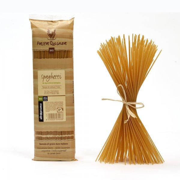 Bio-Spaghetti mit Quinoa-Bio-Pasta Spaghetti mit Quinoa aus Fairem Handel von Altromercato-Fairer Handel mit Pasta und Quinoa-Fairtrade Bio-Quinoa-Pasta aus Italien