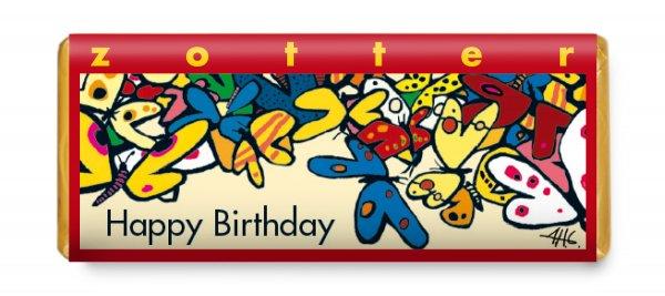 Bio-Schokolade Happy Birthday - Butterkaramell-Bio-Schokolade Butterkaramell aus Fairem Handel von Zotter-Fairer Handel mit Schokolade und Geschenken Geburtstag-Fairtrade Bio-Schokolade handgeschoepft von Zotter