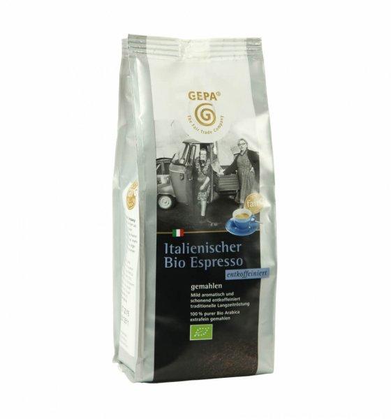 Italienischer Bio-Espresso entkoffeiniert, gemahlen