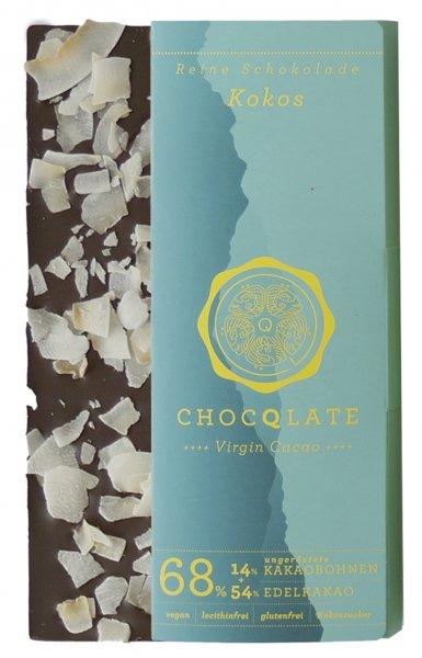 Bio-Schokolade Virgin Cacao Kokos-vegane Bio-Schokolade Kokos Chocqlate aus Fairem Handel-Fairer Handel mit Schokolade Rohkakao Kakao-Fair Trade Bio-Schokolade vegan glutenfrei laktosefrei lecithinfrei