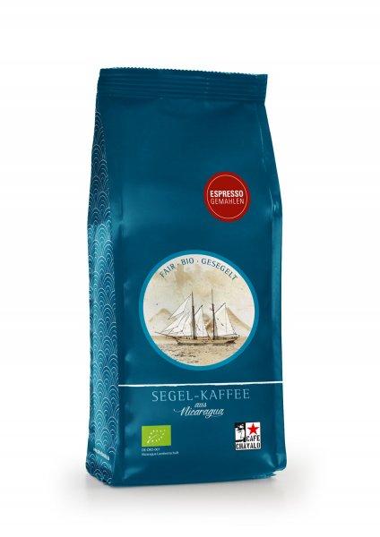Bio-Segel-Espresso, gemahlen-Bio-Espresso Segel-Kaffee aus Fairem Handel von Cafe Chavalo-Fairer Handel mit Kaffee klimaneutral alternativ transportiert-Fairtrade Bio-Segel-Kaffee Espresso von Kleinbauern aus Nicaragua