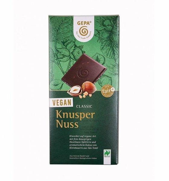 Bio-Schokolade Vegan Classic, Knusper-Nuss-vegane Bio-Schokolade Knusper Nuss aus Fairem Handel-Fairer Handel mit Kakao und Schokolade-Fairtrade Bio-Schokolade vegan von GEPA Sao Tome