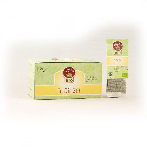 Tu Dir Gut Bio-Kräutertee, im XL-Teebeutel-Bio-Kraeutertee Teebeutel aus Fairem Handel von Bergkraeuter-Fairer Handel mit Tee und Kraeutern in Europa-Fairtrade Bio-Kraeutertee aus Oesterreich
