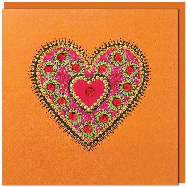 Grusskarte Herz, orange - inkl. Umschlag-Grusskarte Glueckwunschkarte aus Fairem Handel von Weltpartner-Fairer Handel mit Papier und Handwerk-Fairtrade Grusskarte Valentinstag aus Thailand