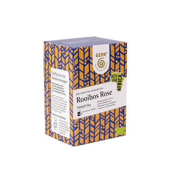 Bio-Kräutertee 'Rooibos Rose'-Bio-Kraeutertee Rooibos Rose aus Fairem Handel von GEPA-Fairer Handel mit Kraeutern, Gewuerzen und Tee-Fairtrade Bio-Kraeutertee von Kleinbauern aus Afrika