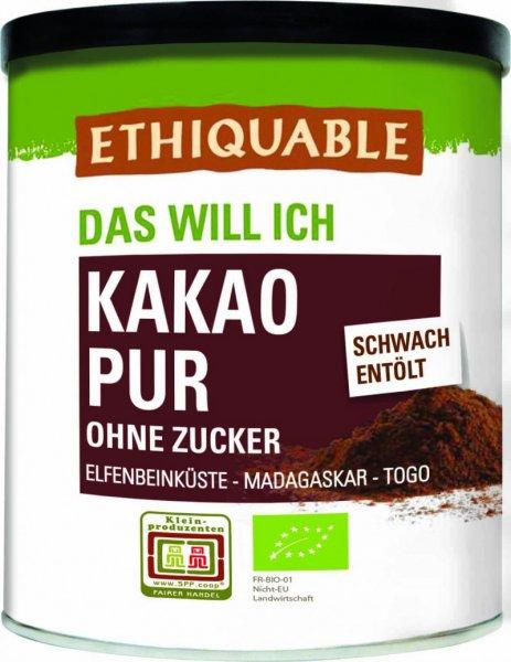 Bio-Kakaopulver, schwach entölt-Bio-Kakao Pulver pur schwach entoelt von Ethiquable aus Fairem Handel-Fairer Handel mit Kakao schwach entoelt nicht alkalisiert-Fairtrade Bio-Kakao pur aus Elfenbeinkueste, Haiti und Togo