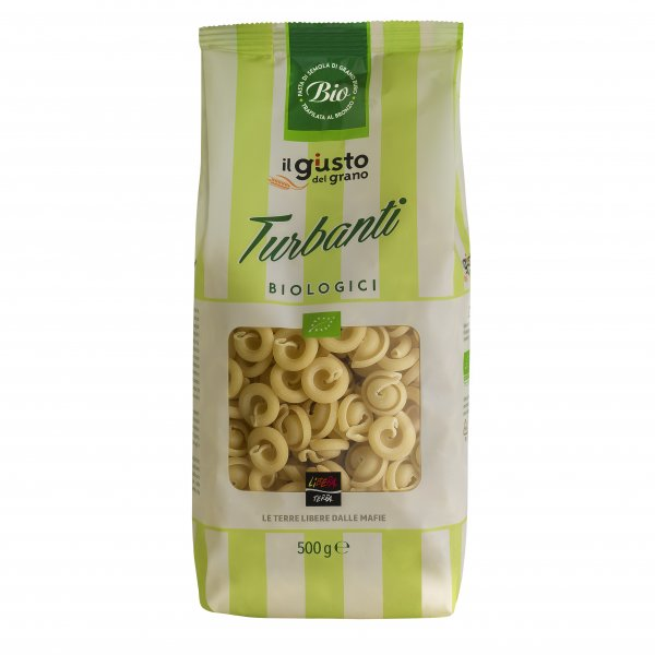 Bio-Turbanti-Bio-Turbanti Nudeln Pasta von Libera Terra Sizilien-Fairer Handel mit Lebensmittel ohne Mafia in Italien und Europa-Fairtrade Bio-Pasta Turbanti von Libera Terra Sizilien