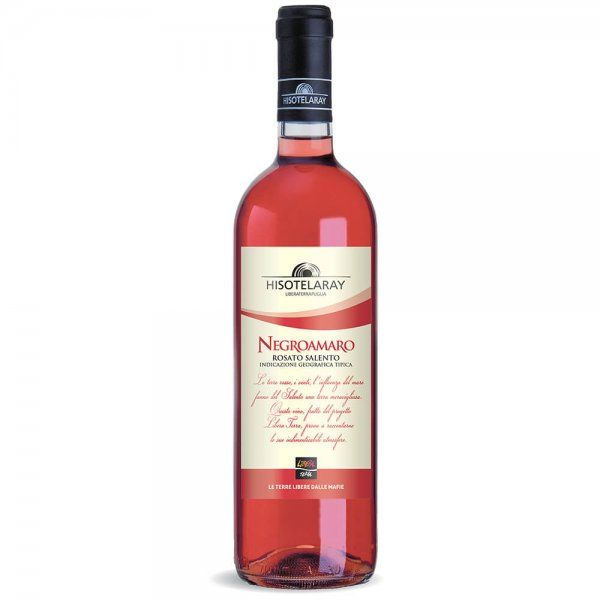 Hiso Telaray Negroamaro Rosato Salento 2019-Bio-Rosewein Rose aus Fairem Handel Libera Terra-Fairer Handel ohne Mafia mit Wein in Italien-Fairtrade Bio-Rose Wein von Sozialkooperativen Italien