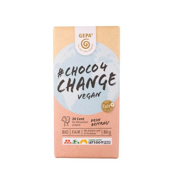 #choco4change vegan-vegane Bio-Schokolade Datteln Klimawandel aus Fairem Handel GEPA-choco4change fridays4future Schokolade fuer den Wandel-Fairtrade Bio-Schokolade Datteln Haselnuesse von Kleinbauern