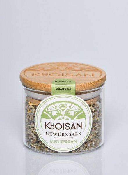 Bio-Gewürzsalz Mediterran-Bio-Gewuerzsalz Mediterran naturreines Meersalz von Khoisan-Fairer Handel mit Meersalz und Kraeutern-Fairtrade Bio-Gewuerzsalz aus Suedafrika