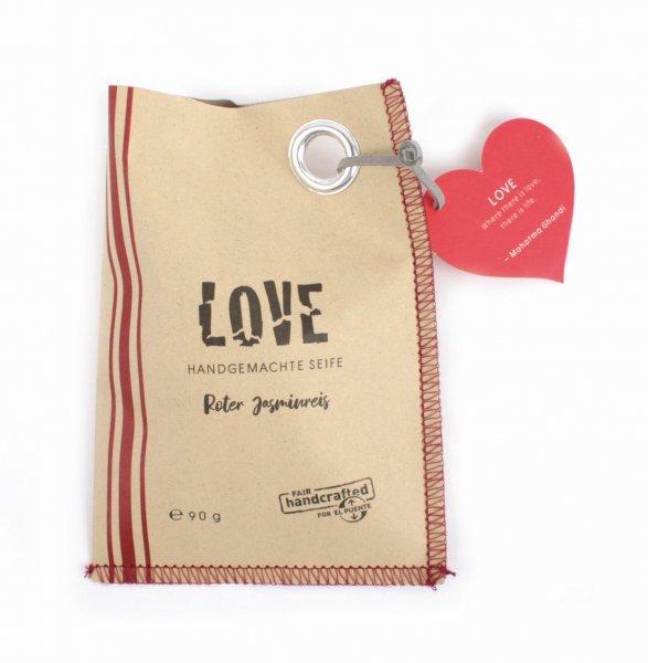handgemachte Seife 'Love' - Herzform, vegan-vegane handgemachte Pflanzenoel-Seife aus Fairem Handel von El Puente-Fairer Handel mit Naturkosmetik, Wellness und Geschenken-Fairtrade Pflanzenoel-Seife aus Thailand
