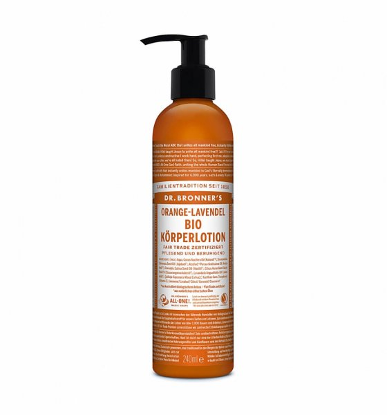 Bio-Body Lotion Orange-Lavendel-Bio-Body Lotion Koerperlotion Orange-Lavendel Fair Trade-Fairer Handel mit Naturkosmetik und Cremes-Fair Trade Bio-Body Lotion Dr. Bronner's