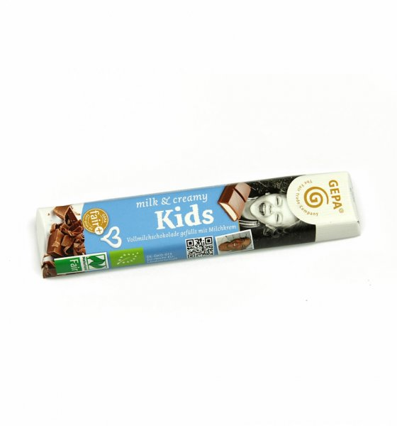 Bio-Schokoriegel Kids mit Milchcremefuellung-Bio-Schokoriegel Kids Riegel Kinder aus Fairem Handel-Fairer Handel mit Schokolade Suessigkeiten-Fairtrade Bio-Schokoriegel Kinder Kids