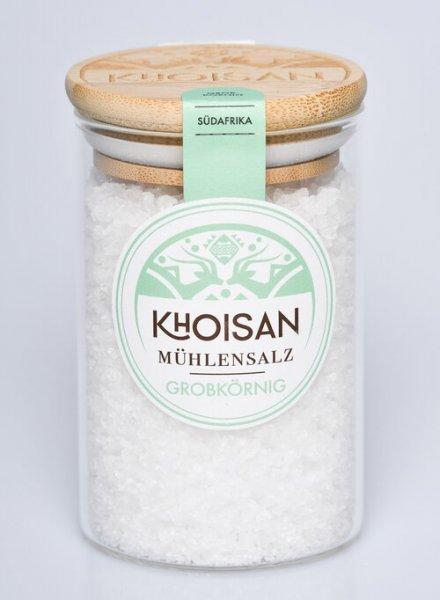 Naturreines Meersalz, grobkörniges Mühlensalz-naturbelassenen Meersalz grobkoernig aus Fairem Handel von Khoisan-Fairer Handel mit Salz aus Suedafrika-mikroplastikfreies Fairtrade Meersalz von Khoisan aus Suedafrika
