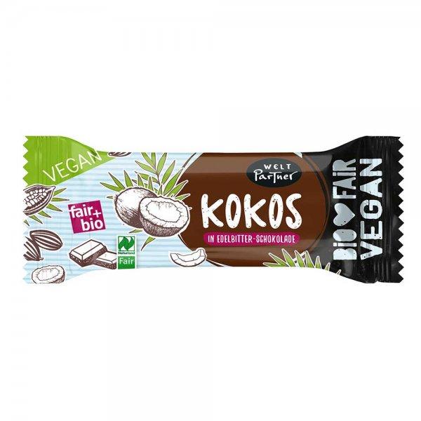 Bio-Kokosriegel in Edelbitterschokolade-Bio-Kokosriegel vegan aus Fairem Handel-Fairer Handel mit Kokos und Kakao-Fair Trade Bio-Kokosriegel vegan aus Sri Lanka