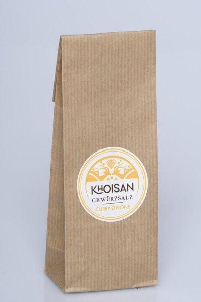 Bio-Gewürzsalz Curry-Zitrone, Nachfüllpack-Bio-Gewuerzsalz Curry-Zitrone naturreines Meersalz von Khoisan-Fairer Handel mit Meersalz und Gewuerzen-Fairtrade Bio-Gewuerzsalz aus Suedafrika