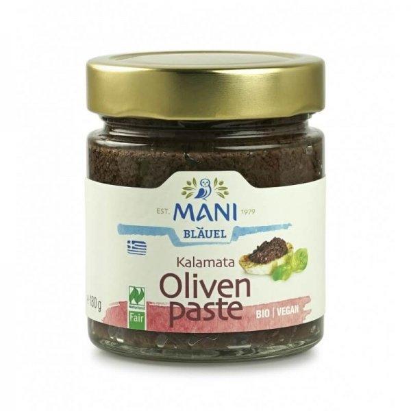 Bio-Kalamata Olivenpaste-Bio-Kalamata Olivenpaste aus Fairem Handel von MANI-Fairer Handel mit Oliven, Antipasti und Feinkost-Fairtrade Bio-Olivenpaste Oliven Meze aus Griechenland